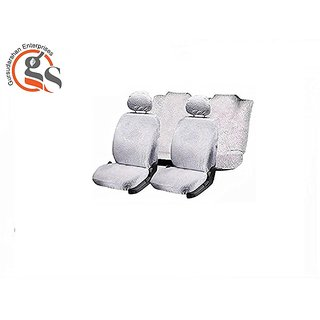 GS-Sweat Control White Towel Split Car Seat Cover For Chevrolet Beat (Type-1)