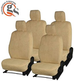 GS-Sweat Control Beige Towel Split Car Seat Cover For Hyundai I20 (Type-1)
