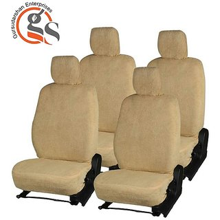 GS-Fixed Front Headrest Beige Towel Car Seat Cover For Hyundai I10 (Type-2)
