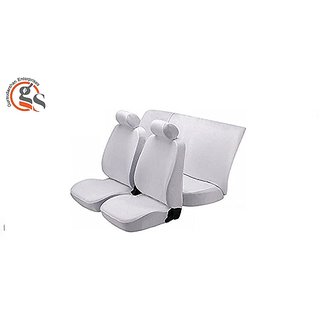 GS-Fixed Front Headrest White Denim Car Seat Cover For Hyundai I10 (Type-1)