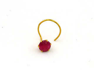 Amogh Jewels Ruby Nose pin in 18 k gold