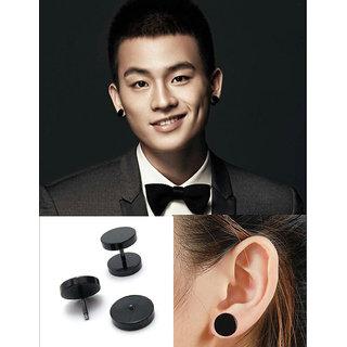Double Sided Round Barbell Stainless Steel Black For Men Women Unisex Earrings 1 Pair CODEDj-7726