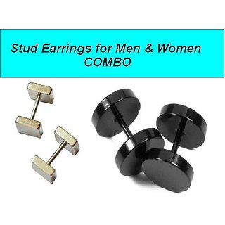COMBO of BlacK  Silver Barbell Stainless Steel Stud Earrings for Mens Women Unisex Fashion Piercing Earring 2 Pair CODEDn-4626
