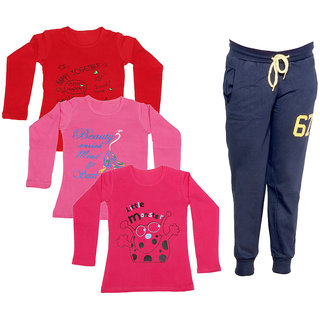 IndiWeaves Girls Combo Pack 4 (Pack of 3 Full Sleeves T-Shirts and 1 Lowers/Track Pant )Multicolor