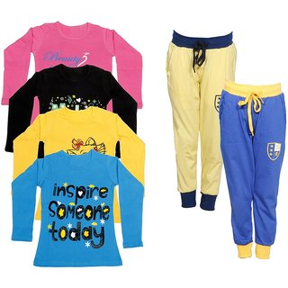 IndiWeaves Girls Combo Pack 6 (Pack of 4 Full Sleeves T-Shirts and 2 Lowers/Track Pant )Multicolor
