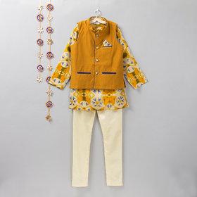 Off White tie and dye printed cotton silk Kurta Jacket Churidar set