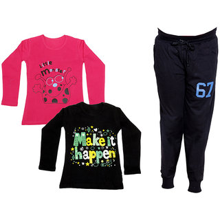 IndiWeaves Girls Combo Pack 3 (Pack of 2 Full Sleeves T-Shirts and 1 Lowers/Track Pant )Multicolor