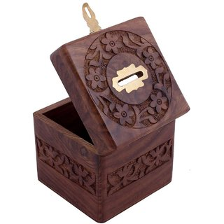 Wooden Square Money Bank