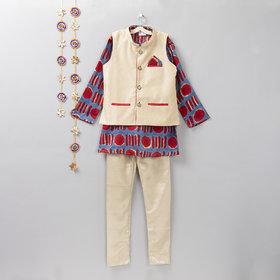 Red and Blue Cotton Silk Jacket Churidar Set