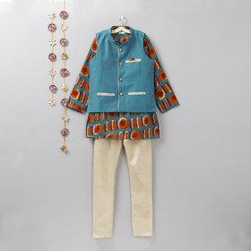 Cotton Silk Rama Green and Orange Kurta, Jacket and churidar Set