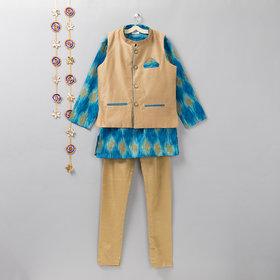 Cotton Silk Blue Ikat Print Kurta Jacket Churidar Set