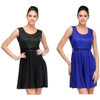 Black And Blue Short Dress  (Combo Of 2)