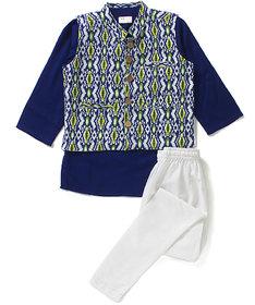 Printed Cotton Jacket Blue Kurta and Churidar Set