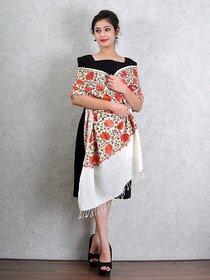 Off White Woolen Shawl with Multicolour Kashmiri Ari Work