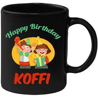 Huppme Happy Birthday Koffi Black Ceramic Mug (350 Ml)