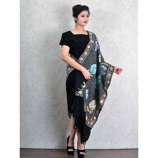 Black Woolen Shawl with Kashmiri Ari Work