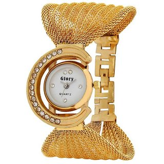 Glory Golden Metal Round Dial Analog Watch BY MISS