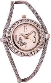 Timebre Round Dial Silver Metal Strap Womens Watch BY MISS