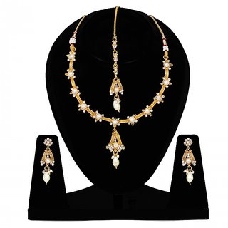 Penny Jewels Latest Designer Golden Necklace Set With Earring  Manngtika For Women  Girls