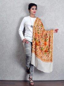 Off White Woolen Shawl with Kashmiri Ari Work