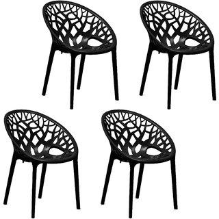 Nilkamal Premium PP Chairs Set of 4 (Black) By HOMEGENIC