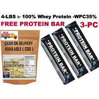 4Lbs-Whey Protein Concentrate WPC35%-FREE PROTEIN BAR 3-PC 300 RS