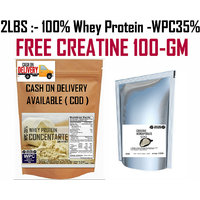 2Lbs-100% Whey Protein Concentrate Instantized WPC35%- FREE CREATINE 100GM 300RS
