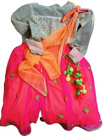 houz of KS Neon Pink Palazzo set with Sequence top and Knotted dupatta