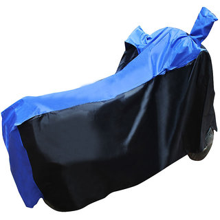 Autohub Two Wheeler Cover Without Mirror Pocket Perfect Fit For Suzuki Gixxer SF - Black  Blue Colour