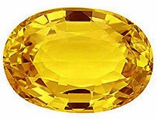 J F 100 Certified Natural Yellow Sapphire 5.74cts /6.00 ratti Loose Gem Stone ( 5.74 carat )