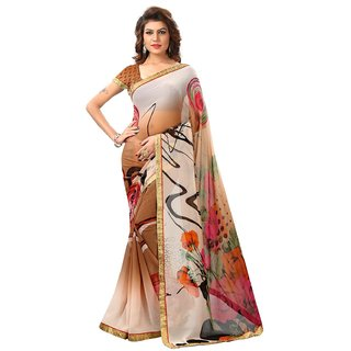 RK FASHIONS Brown Georgette Party Wear Printed Saree With Unstitched Blouse - RK234332