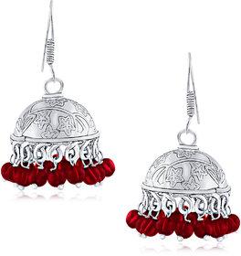 Spargz Embellished Long Earrings For Women Pearl Alloy Jhumki Ear.