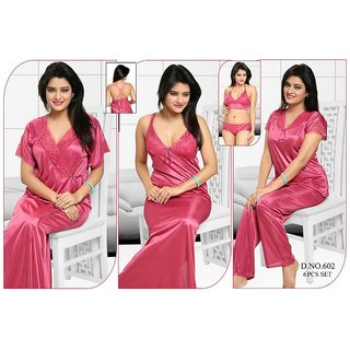 4591e9ff42 Womens Sleepwear 6pc Bra Panty Top Pajama Pant Nighty Over Coat 602 Pink  Night Robe Set