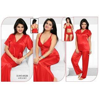 ae7403bee1 Womens Sleepwear 6pc Bra Panty Top Pajama Pant Nighty Over Coat 602B Red  Night Robe Set Daily Lounge Wear