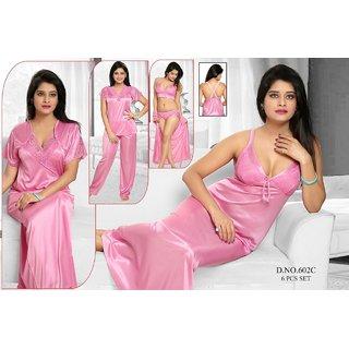 8b9521d963 Buy Womens Sleepwear 6pc Bra Panty Top Pajama Pant Nighty Over Coat 602C  Light Pink Night Robe Set Daily Lounge Wear Online   ₹2190 from ShopClues