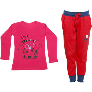 IndiWeaves Girls Combo Pack 2 (Pack of 1 Full Sleeves T-Shirts and 1 Lowers/Track Pant )Multicolor