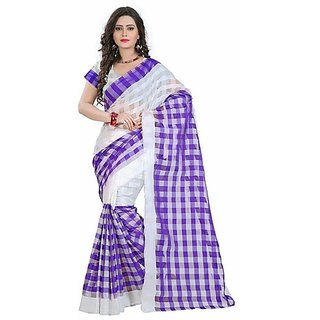 Indian Beauty Multicolor Cotton Checks Saree Without Blouse