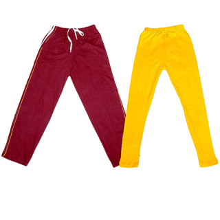 IndiWeaves Girls 1 Cotton Lower and 1 Cotton Legging ( Pack of 2)