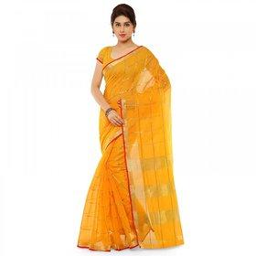 Kvsfab Yellow Cotton Printed Saree With Blouse