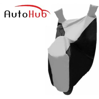 Autohub Two Wheeler Cover With Mirror Pocket UV Resistant For Piaggio Vespa VXl 150 - Black  Silver Colour