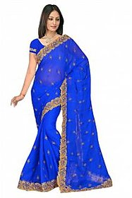 sehgal sons Blue Chiffon Striped Saree With Blouse