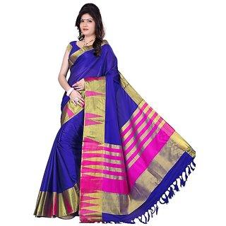 kanak new styles blue color cotton saree