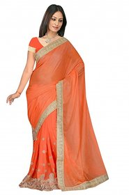sehgal sons Orange Georgette Striped Saree With Blouse