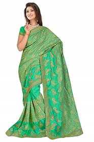 sehgal sons Green Silk Plain Saree With Blouse