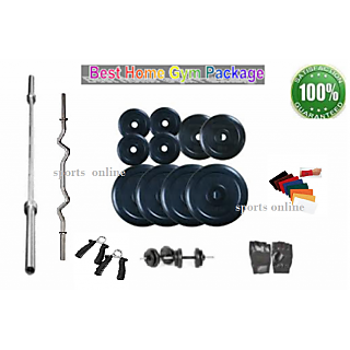 Bodyfit Home Gym 100 Kg + 4 Rods(1 Curl)+ Gloves+ Grips+W. Band