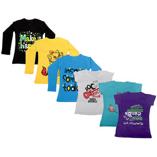 IndiWeaves Girls Cotton Full Sleeves Printed T-Shirt (Pack of 4)Multicolor