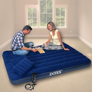 INTEX CLASSY DOWNY QUEEN SIZE AIR BED (2 INTEX PILLOW AND 1 AIR MACHINE FREE)
