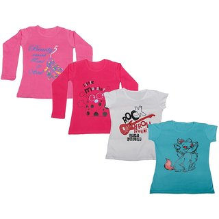 IndiWeaves Girls 2 Cotton Full Sleeves and 2 Half Sleeves Printed T-Shirt (Pack of 4)Multicolor