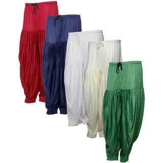 IndiWeaves Women's Premium Cotton 5 Full Patiala Salwar (Pack of 5)Multicolor