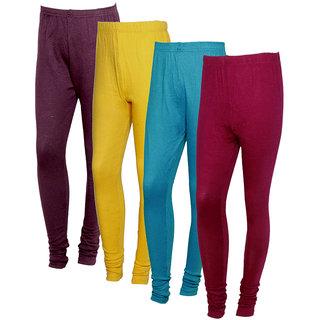 IndiWeaves Women Warm Wollen Lycra Legging (Pack of 4)Multicolor